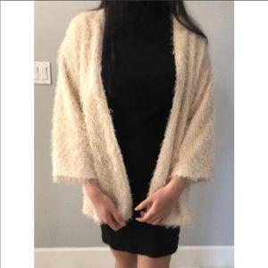 H&M Cream Fluffy Fur Cardigan Size: XS
